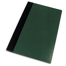 Green cover with black binding