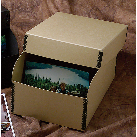"Gaylord Archival® Unbuffered Tan Barrier Board 4 x 6"" Photo Box"