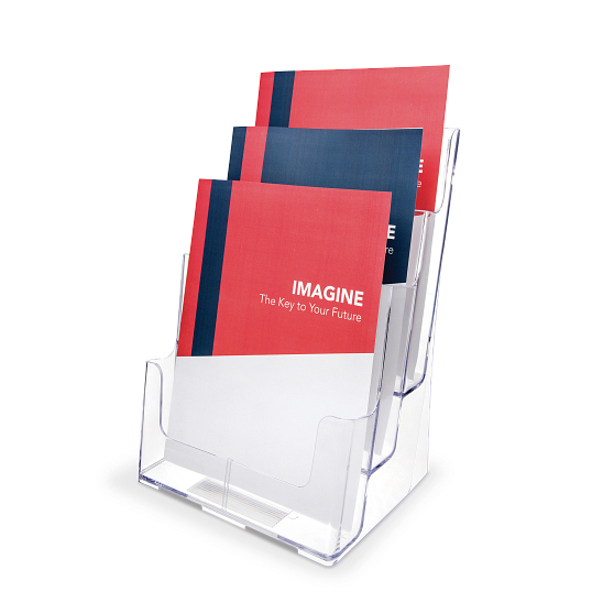 Acrylic Periodical Literature Display Rack with Three Tiers