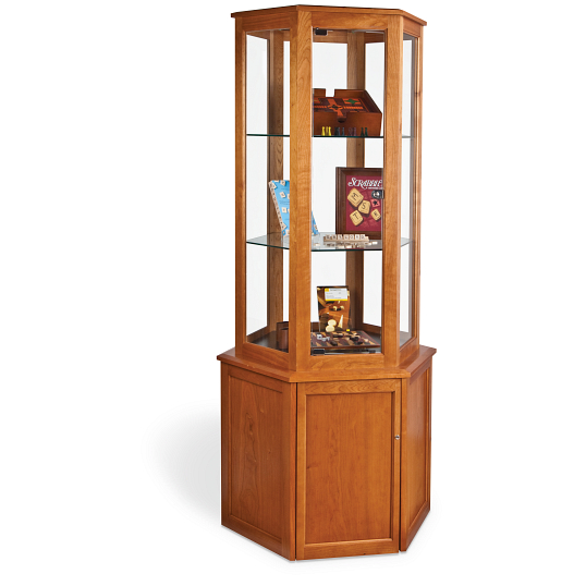Gaylord Archival® Sedgwick™ Hexagonal Tower Exhibit Case