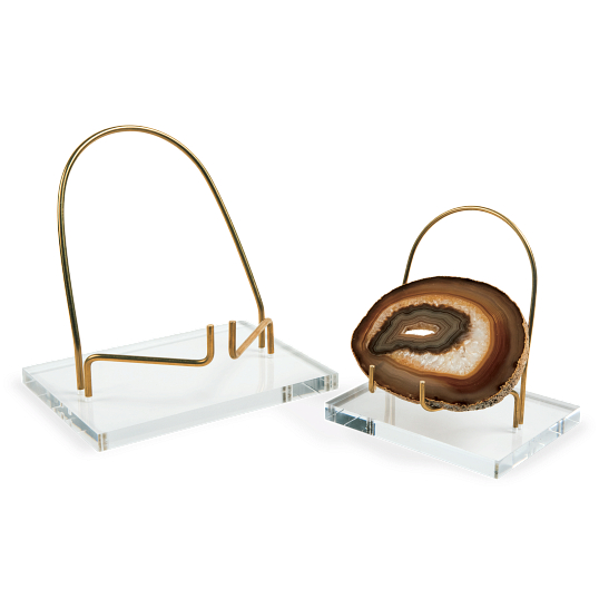 Brass & Acrylic Round Back Display Easel