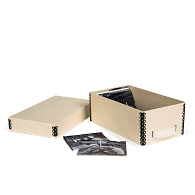 Gaylord Archival® Light Tan B-Flute Corrugated Shallow Lid Photo & Print Box with Handle
