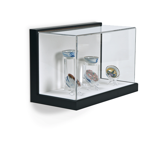 Gaylord Archival® Little Gem Original Black Wall-Mount Exhibit Case with Linen-Wrapped Interior