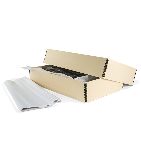 Gaylord Archival® Light Tan B-Flute Textile Box with Tissue