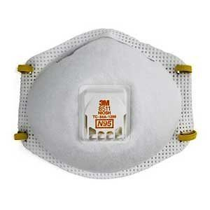 Particulate Respirator, Cool Flow Valve, Standard Size, White, Box of 10