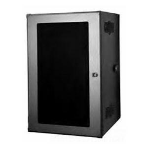 CUBE-iT Wall-Mount Cabinet, Gen 3, 36 in. H x 24 in. W x 18 in. D , 19U, #12-24 Tapped Rails, Solid Metal Door, Black