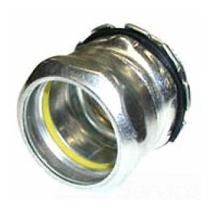 Compression Connector, Steel, EMT Conduit, Raintight, 3 in.
