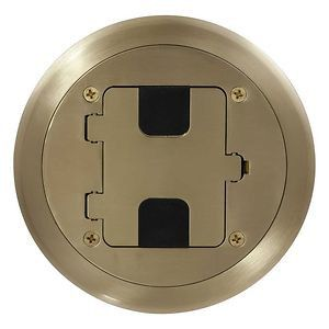 Flange and Hinged Door Cover Assembly, Factory Pre-Assembled, Includes Tamper-Resistant Duplex Receptacle, Brushed Brass Plated