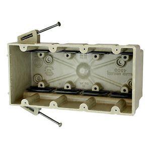 fiberglassBOX™ Switch Box, Fiberglass Reinforced Polyester BMC, New Work, 4-Gang, 3 in. D, Angled Mid-Nails/Speed Klamp
