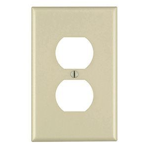 Wallplate, Duplex Receptacle, Midsize, Device Mount, 1-Gang, Ivory