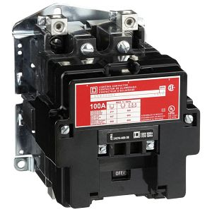 Multipole Lighting Contactor, Electrically Held, 100A, 110/120V Coil, 2-Pole, Open-Type Enclosure