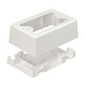 Non-Metallic Low Voltage Outlet Box With Adhesive For LD or T-45 Series Raceway, Off-White