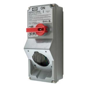 Mechanical Interlock Switched Enclosure, Twist-Lock® Receptacle Ready, Grey, Accepts 20 or 30A (Receptacle Sold Separately)