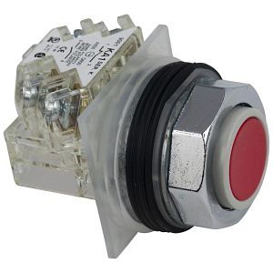 Non-Illuminated 30mm Pushbutton Operator, Momentary, 1NO/1NC Contact (KA1), No Guard, Red Pushbutton Head