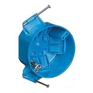 Carlon® Ceiling Box, Polycarbonate, Blue, 4 in. Diameter, 2-1/4 in. D, Captive Nails, Ground Lug & Screw Attached