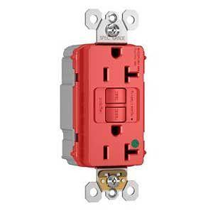Hospital Grade Receptacle, 20 A, 125 V, 3-Wire, NEMA Type 5-20R, Red