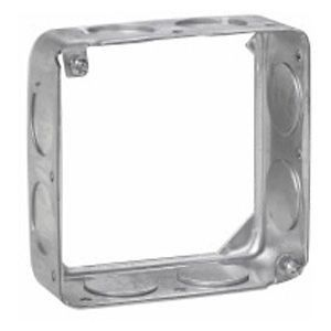 4 in. Square Box Extension Ring, Steel, 1-1/2 in. Deep, (8) 3/4 in. Side Knockouts
