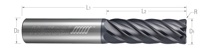 6 Flute - Corner Radius - Variable Pitch - For High Efficiency Milling