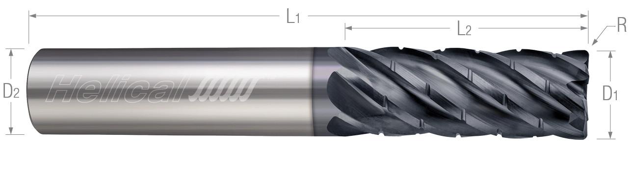 6 Flute - Corner Radius - Chipbreaker Rougher - Variable Pitch