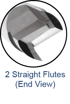 End Mills for Composites - Square - 2 Straight Flutes