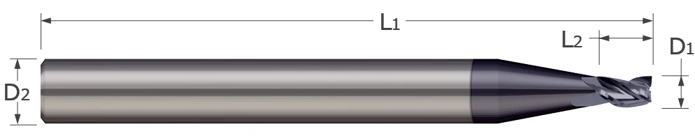 End Mills for Steels & High Temperature Alloys - Square - 2 & 3 Flute - Stub Flute