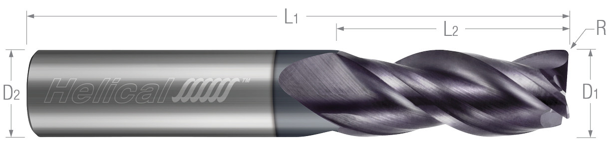 3 Flute, Corner Radius - Variable Pitch