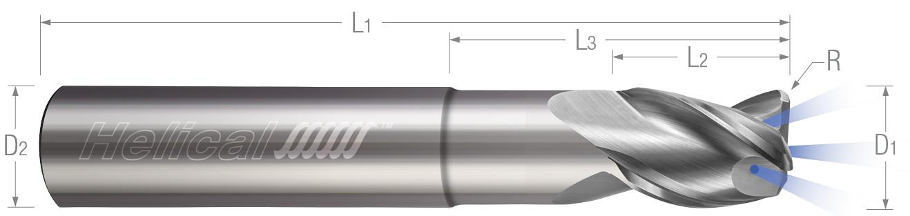 3 Flute, Corner Radius - Coolant Through - High Balance, Reduced Neck