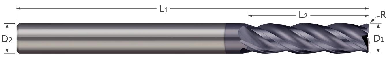 Corner Radius - 4 & 5 Flute - Variable Helix - Long Flute