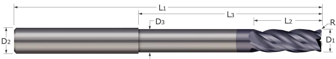 Corner Radius - 4 Flute - Variable Helix - Long Reach - Reduced Neck