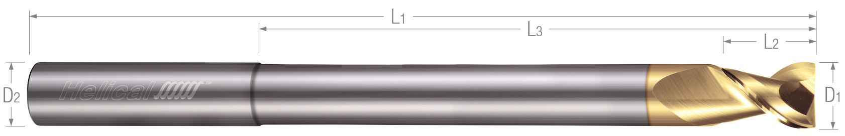 2 Flute, Square - 45° Helix, Reduced Neck