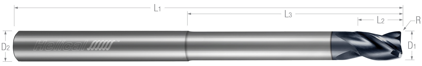 3 Flute, Corner Radius - Reduced Neck