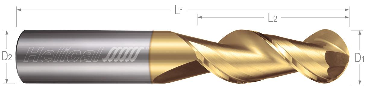 2 Flute, Ball - 45° Helix
