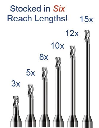 Miniature End Mills - Corner Radius - Long Reach, Stub Flute