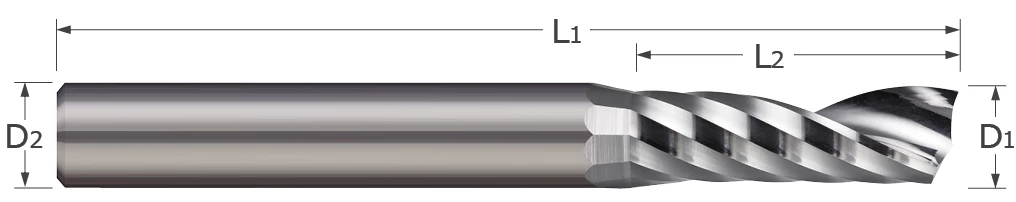 End Mills for Aluminum Alloys - Square - Single Flute - Router