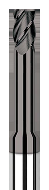 Diamond End Mills for Non-Ferrous Materials - CVD Diamond - Corner Radius - Long Reach, Stub Flute