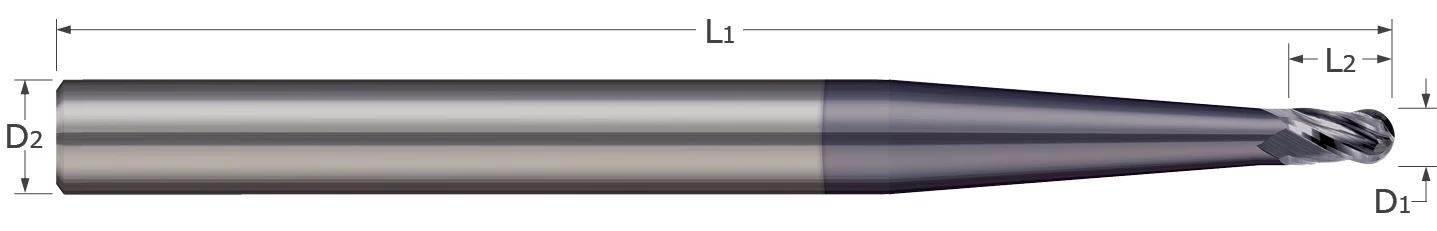 End Mills - Ball - 2, 3, 4 Flute - Stub & Standard