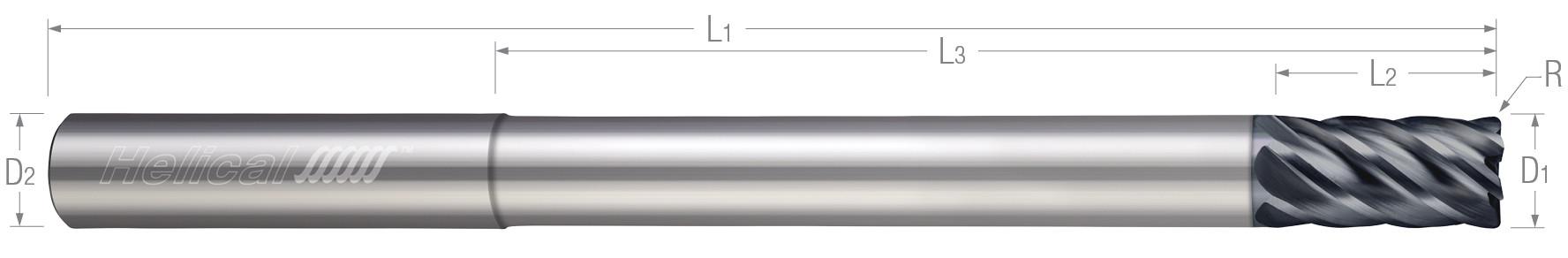 6 Flute - Corner Radius - Variable Pitch - Reduced Neck