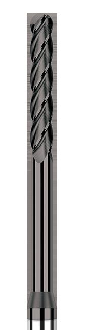 Diamond End Mills for Non-Ferrous Materials - CVD Diamond - Ball - Long Reach, Long Flute