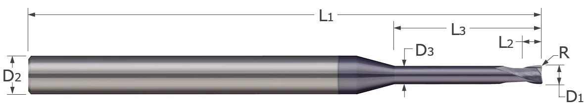 End Mills - Corner Radius - 2 Flute - Reduced Neck