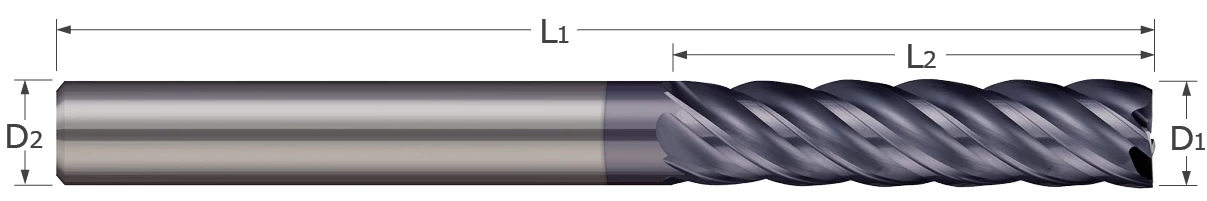 End Mills for Steels & High Temperature Alloys - Square - 5 Flute - Variable Helix - Long Flute