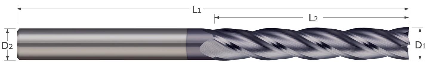 End Mills - Square - 2, 3, 4 Flute - Long Flute