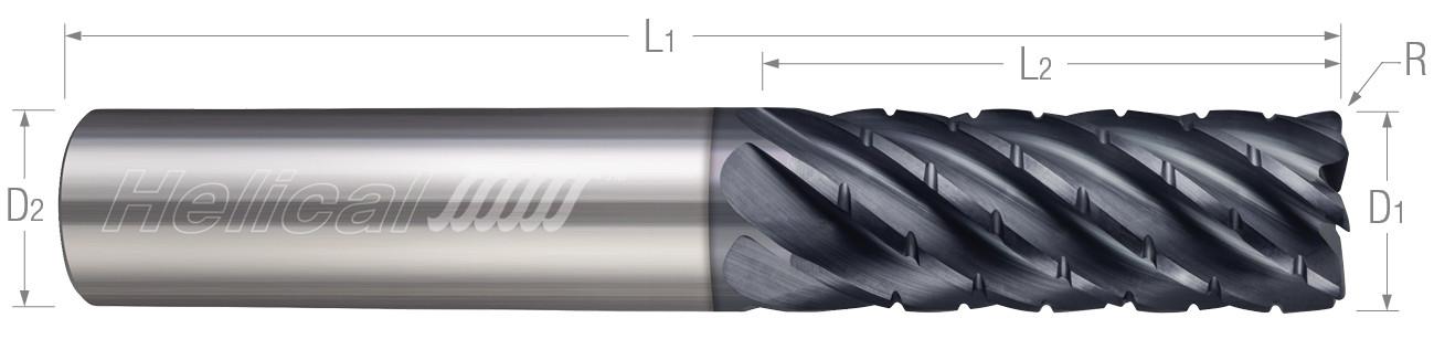 7 Flute, Corner Radius - Chipbreaker Rougher, Variable Pitch
