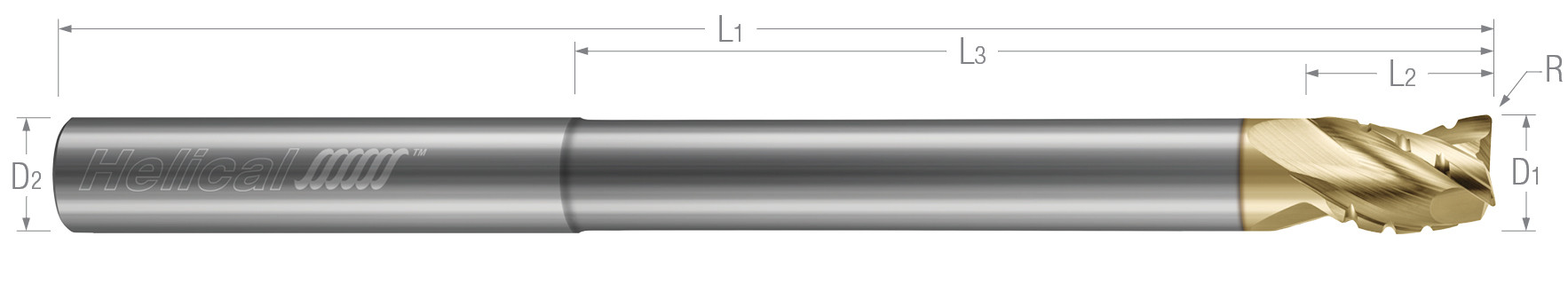 3 Flute - Corner Radius - 35° Helix - Variable Pitch - Chipbreaker Rougher - Reduced Neck