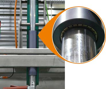 Head bearing with the help of drylin linear technology