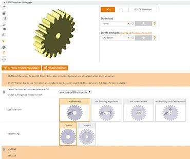 Configurar online CAD de rodas dentadas