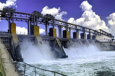 Wasserkraftwerk-Staudamm