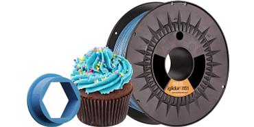 Lebensmittelechtes 3D-Druck-Filament in blauer Farbe