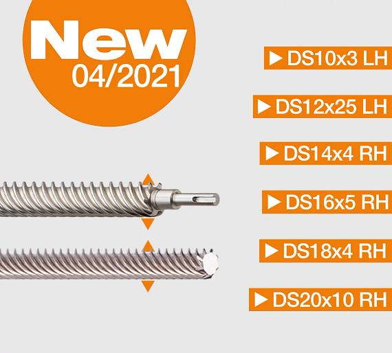 Six new lead screw sizes