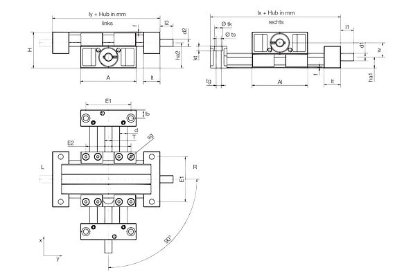 Technical drawing SLW-XY tables
