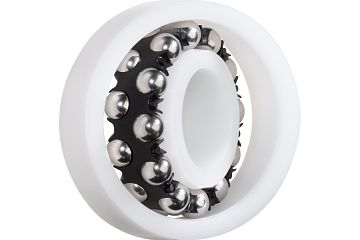 xiros® self-aligning ball bearings, xirodur B180, stainless steel balls, cage made of PA, mm
